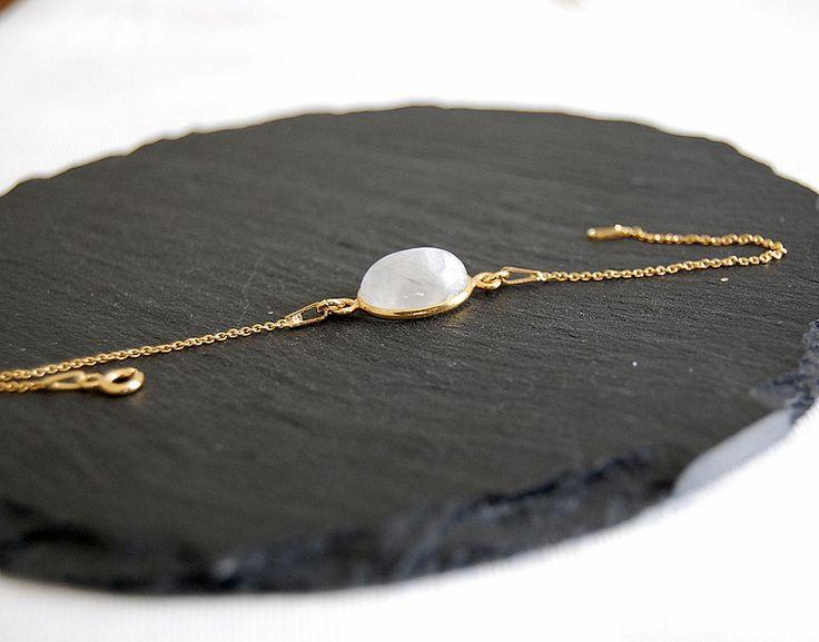 Silberarmbänder - Sterling Silber Armband vergoldet Mondstein - ein Designerstück von Mirakel1807 bei DaWanda