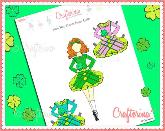 Irish Step Dance Paper Doll  St. Patrick's Day  by Crafterina, $2.50  www.Crafterina.Etsy.com