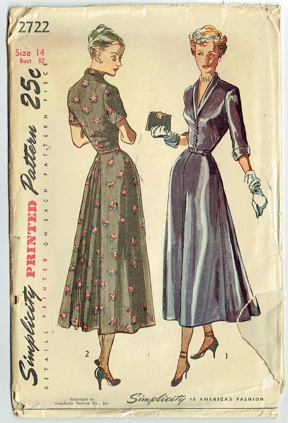 Vintage Sewing Pattern Ladies Late 1940s Dress Simplicity 2722 32 Bust Free Pattern Grading E Book Included Vintage Dress Patterns Vintage Outfits Simplicity Dress