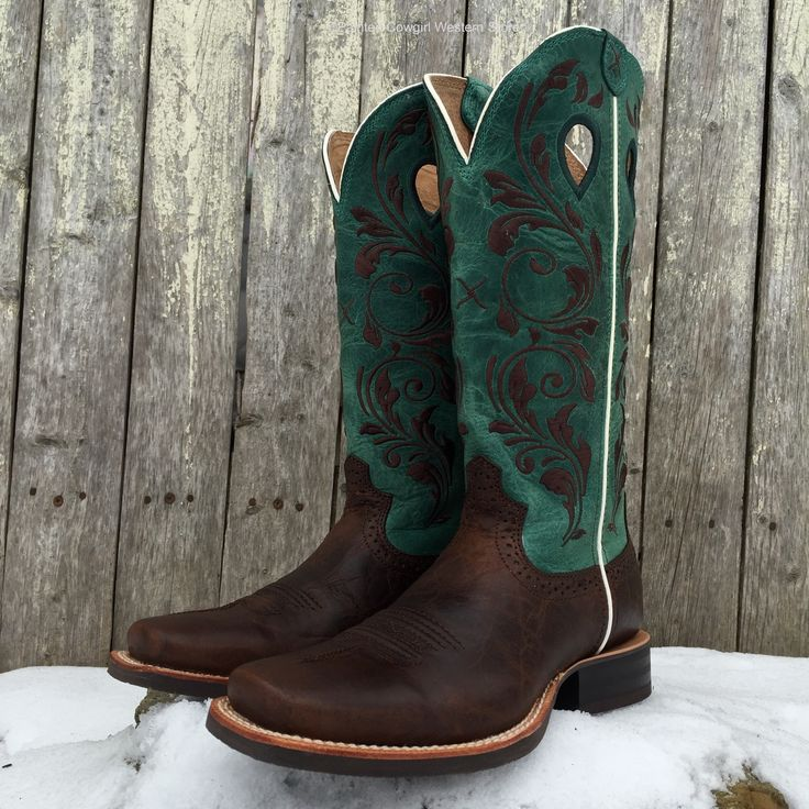 Twisted X Women's Chocolate/Emerald Green Square Toe Western Boots WRS0021