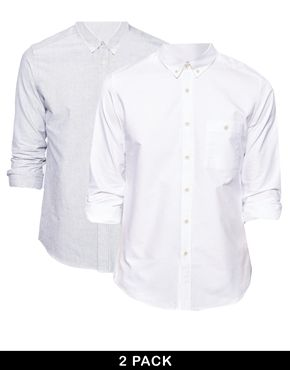 ASOS Oxford Shirt 2 Pack In Long Sleeve White/Grey SAVE 10%