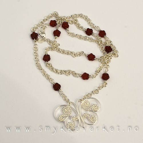 Sterling filigree and red glass beads