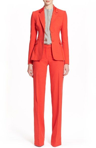"""Designer suits for women - ALTUZARRAA """"Poppy Red"""" suit? Why not.  The idea here, is to put suits in your daily wardrobe, and since you don't want to look like an old and tired accountant, nor like a hotel receptionist on her rest break, you can definitely wear this colorful suit."""