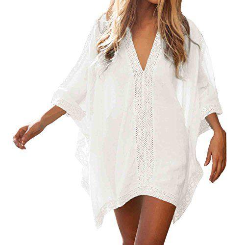 SUNNOW® Frauen Bluse Sexy V-Ausschnitt Lose Beachwear Strand Minikleider Damen Oberteile Sommer (Weiß)