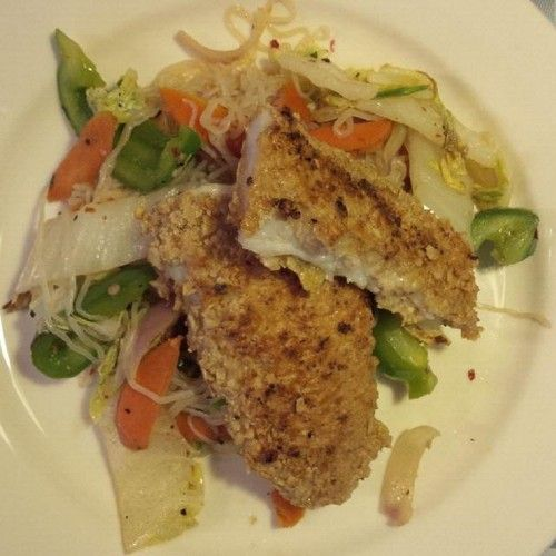 Fish dipped in oatmeal with Konjac noodles