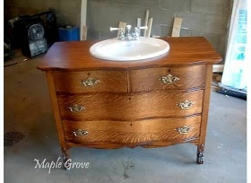 Dresser turned into vanity with instructions.  > Looking for a dresser to do this to our bathroom!