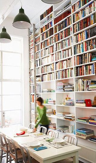 built-in bookcase in dining room: Libraries, Ladder, Dining Rooms, Bookshelves, Idea, Books Shelves, Interiors, House, Bookca