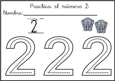 Lectoescritura de números el número 2 Trabajamos la grafomotricidad