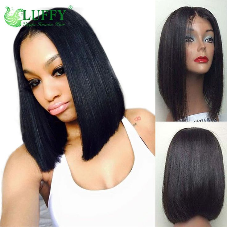 Bob Lace Front Wigs Brazilian Virgin Human Hair Short Bob Glueless Full Lace Wig #Luffy #BobWigs