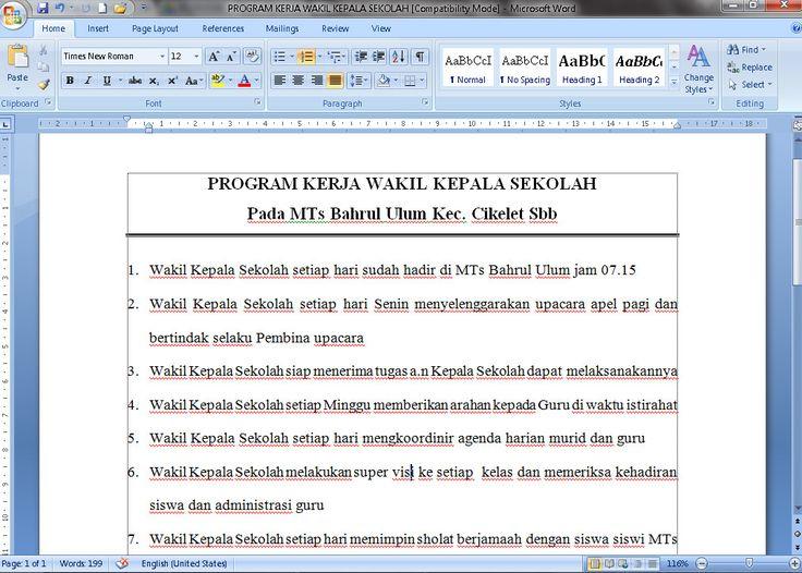 [Dokumen] Contoh Program Kerja Wakil Kepala Sekolah Mts Tahun 2016-2017 Format Microsoft Word [.doc]