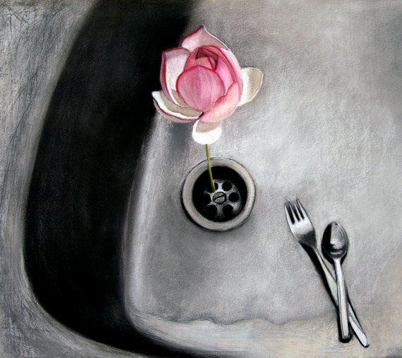 Vision  pastel drawing  kitchen sink  lotus by KatkasArtStudio