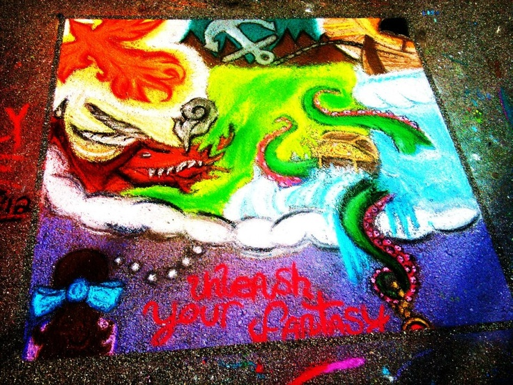"Chalk drawing by Kayla Morrow, Jayde Forzetting, and Dakota ""popesly"" Pope: Chalk Drawings"