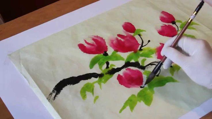 Как рисовать китайские, японские цветы - китайская живопись восточная жи...