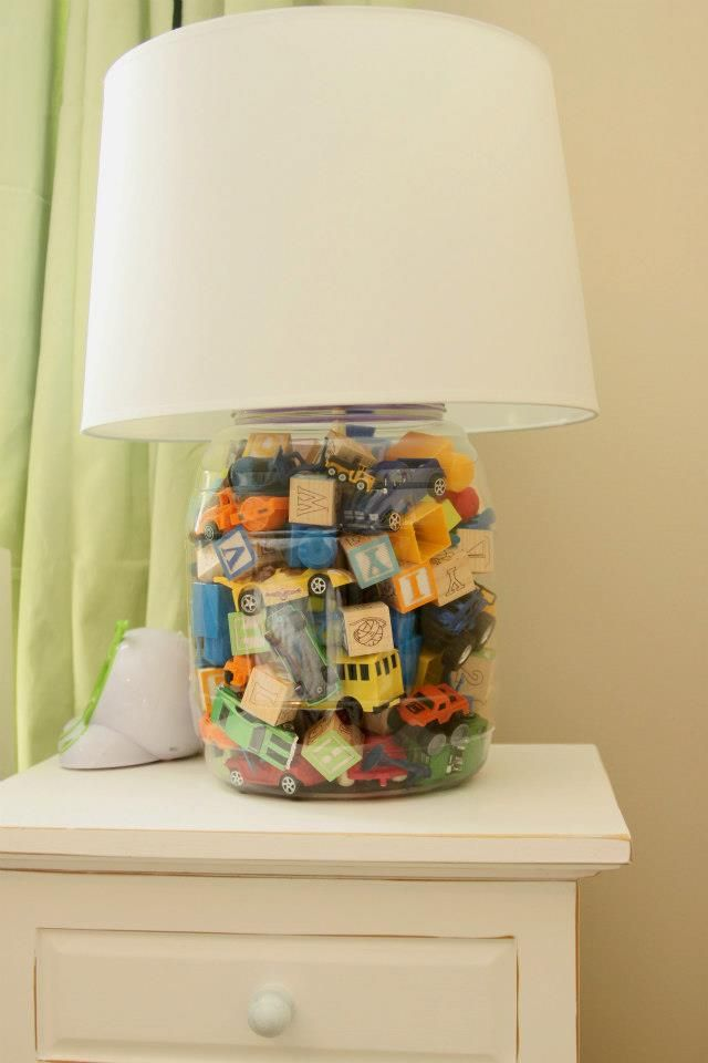 @Nicole Poole Something cool like this for Mason's big boy room? Maybe with cars? They made it from a Cheese Ball container!