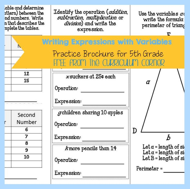 Writing Expressions W/ Variables Brochure