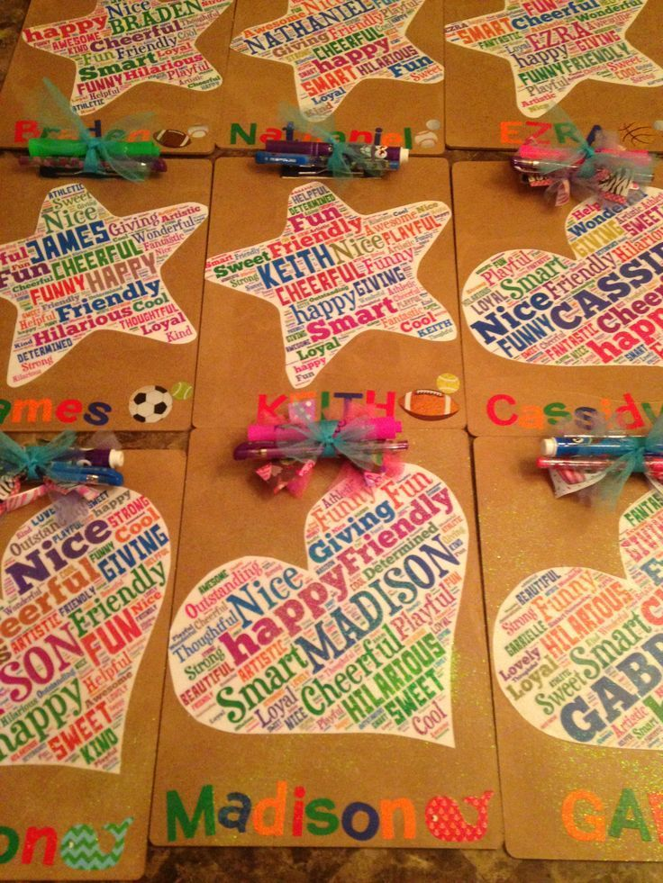 End of Year Student gifts I made my kids.  Word cloud + mod podge + clipboards from Dollar Tree.  Turned out super cute and the kids loved them for when we signed autographs in year books.
