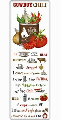 Cowboy Cookout Chili Recipe 100% Cotton Flour Sack Dish Towel Tea Towel