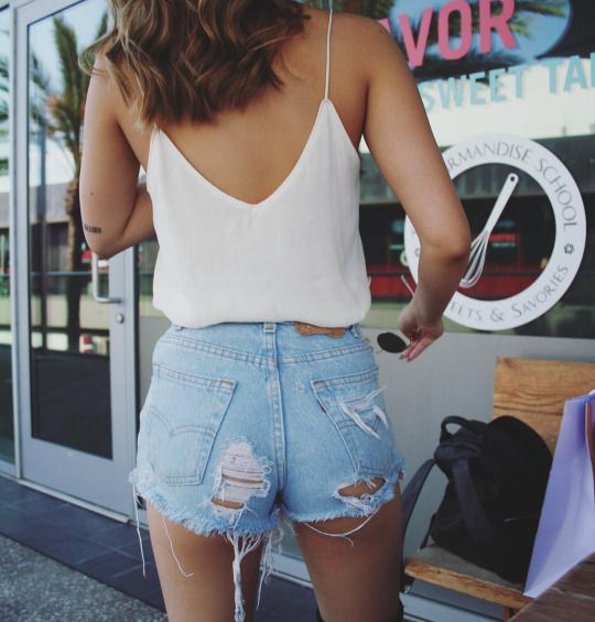"DAISY DUKES SHORTS: These shorts are pants which were cut-off to become shorts; typically very casual; very short ones are referred to as ""Daisy Dukes"". They're a moderate from Abercrombie & Fitch."