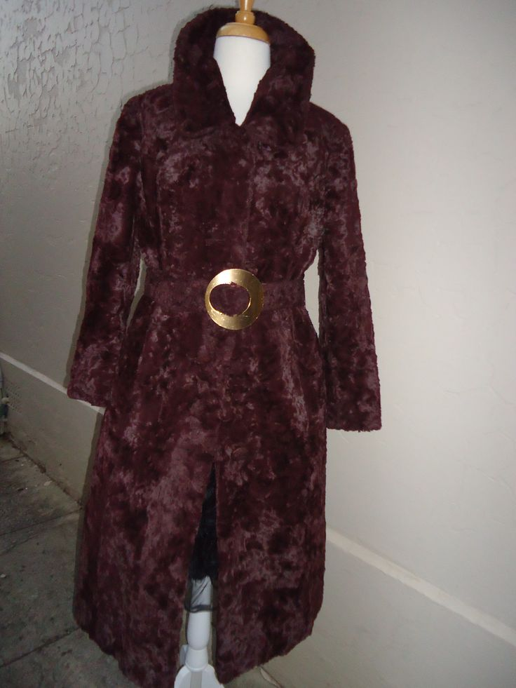 1960's chocolate faux astrakhan 3/4 coat. Size 10-12 SOLD!