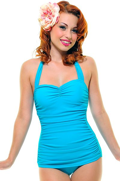 Turquoise pinup swimsuit for summer, please.
