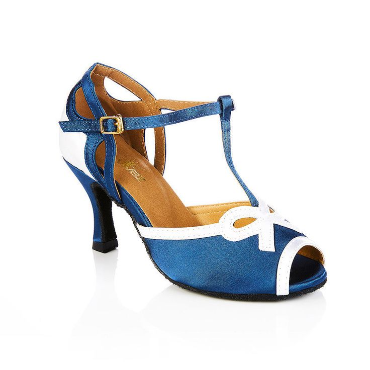 Blue and White swing and latin dance shoes by vivazdance on Etsy