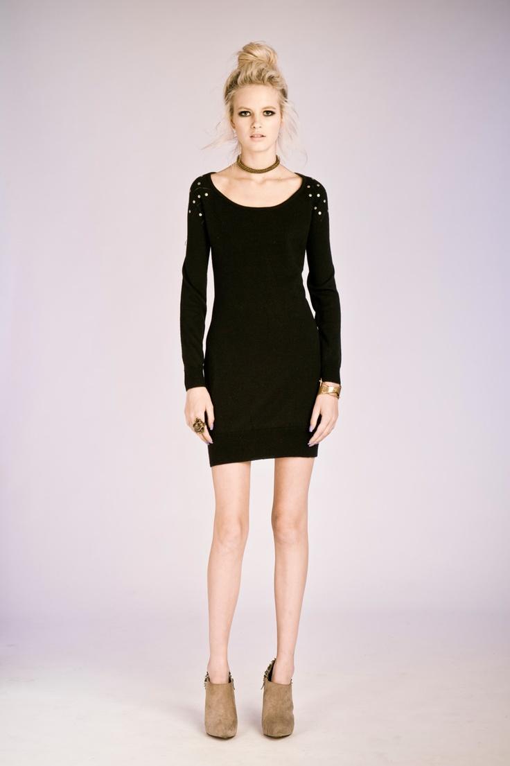 Nookie Diamond Muse Knit Dress- Black