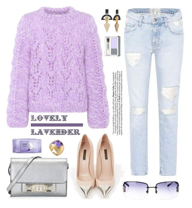 """Lavender: Trends 2018"" by hamaly ❤ liked on Polyvore featuring Current/Elliott, Louis Vuitton, Ganni, Proenza Schouler, Kate Spade, Clinique, Bulgari, outfit, Sweater and ootd"