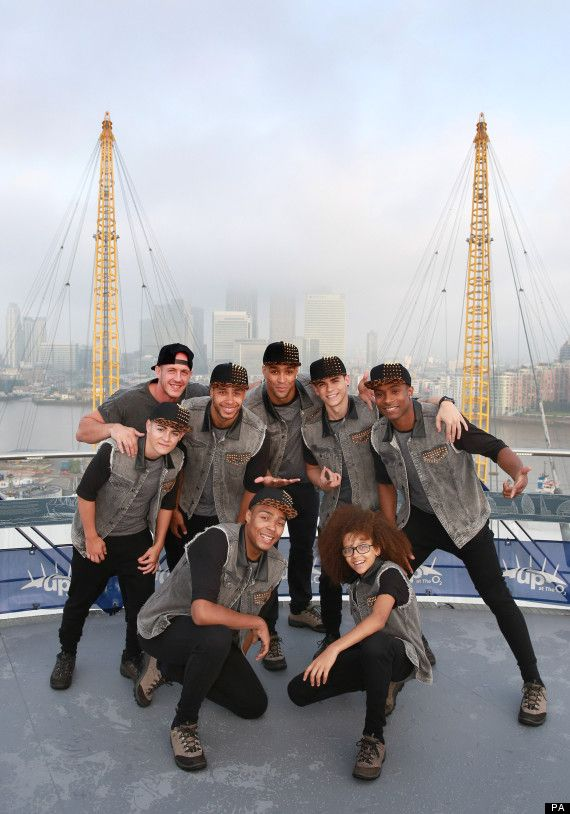 Dance troupe Diversity perform on the roof of London's O2 Arena during filming for Nickelodeon's Fruit Shoot Skills Awards, which airs on Su...