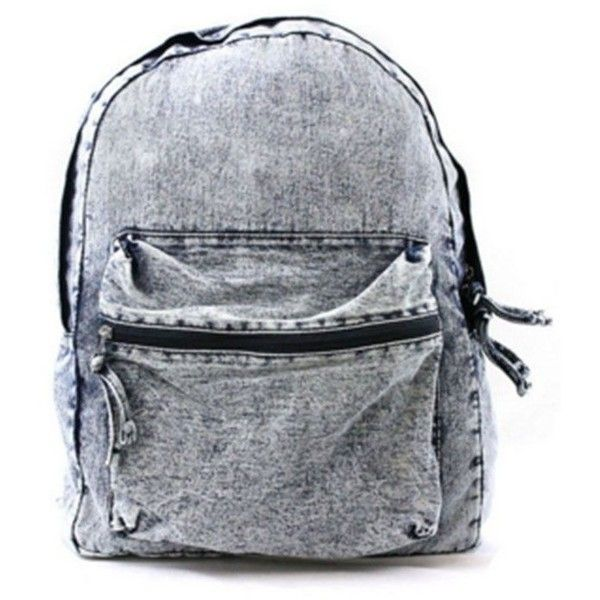 Vintage Denim Washed Backpack (£28) ❤ liked on Polyvore featuring bags, backpacks, accessories, bolsas, zip top bag, knapsack bag, denim bags, backpack bags and vintage bags