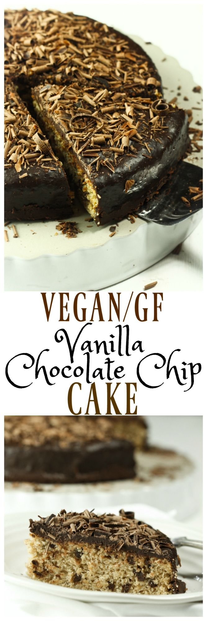 The best Vegan, Gluten-free and oil-free Vanilla Chocolate Chip Cake with Chocolate Ganache. Dairy-free and egg-free, but so decadent, rich, easy to make and just 8 ingredients! via @thevegan8