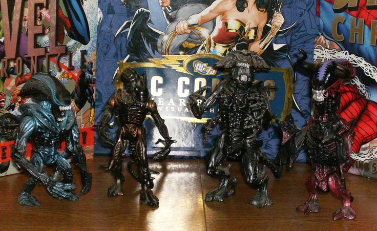 L to R: Gorilla Alien, Scorpion Alien, The Alien Queen, Bull Alien.