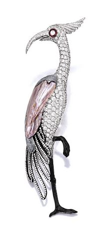 KESHI PEARL AND DIAMOND 'FLAMINGO' BROOCH, MICHELE DELLA VALLE Modelled as a flamingo, the body highlighted by a freshwater keshi pearl measuring approximately 33.50 x 13.40mm, pavé-set with brilliant-cut diamonds