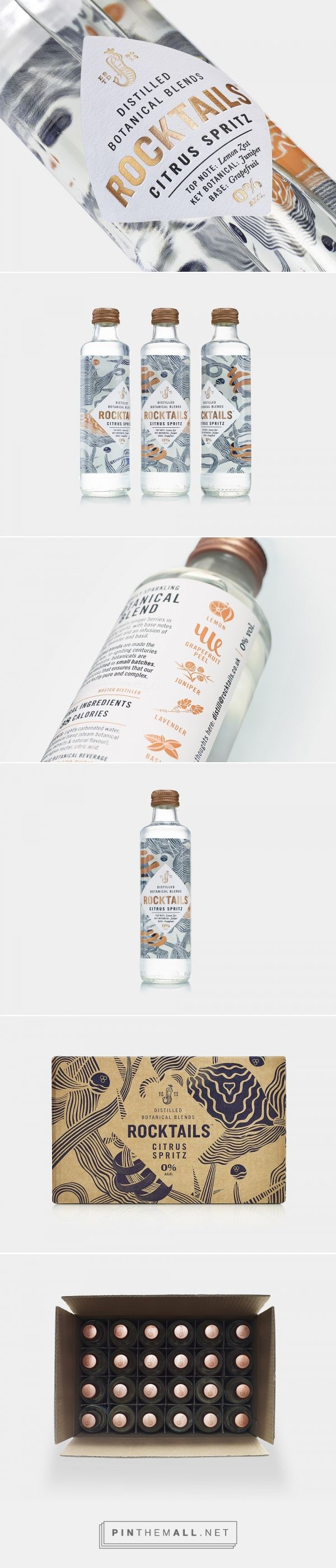 ROCKTAILS Botanical Blends packaging design by B&B studio - http://www.packagingoftheworld.com/2018/01/rocktails-botanical-blends.html