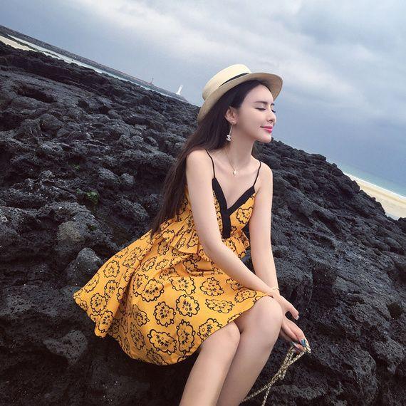 태국 여름 2017 나이트 클럽 숙녀 조수 카드 인쇄 해변 고삐 허리 드레스 섹시한 V 넥 드레스