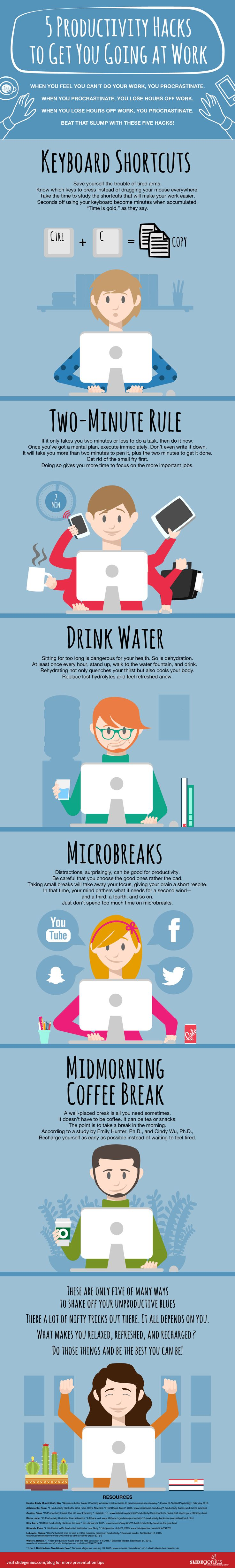 5 Productivity Hacks to Get You Going at Work #Infographic #Business #Career