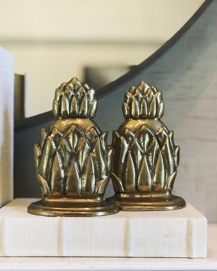 Pineapple bookend brass pineapple bookends gold pineapple brass pineapple pineapple doorstop housewarming gift new house gift friendship by FlickerAndSway on Etsy