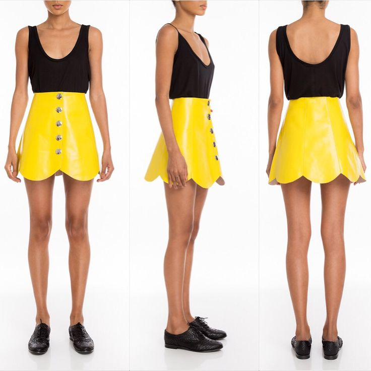 #Manokhi yellow leather skirt ,available also in white,red,blue,orange,black and purple on www.manokhi.com