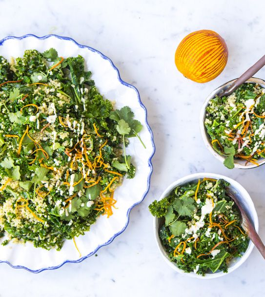 Hemsley + Hemsley's quick and easy warm Kale and quinoa salad with orange tahini dressing - a fantastic and healthy vegan meal
