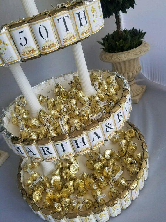 Anniversary Centerpiece Candy Cake, 50th golden Wedding ...
