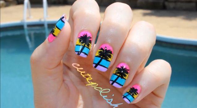 Palm Tree Nail Art.