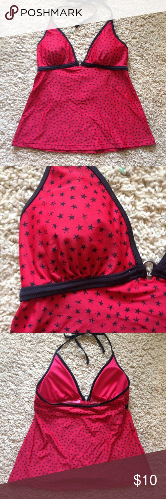 Red Tankini with Black Stars Converse One Star red halter tankini with black stars, size small. Good used condition. No stretching, fading, pilling, etc., but tag is torn as shown. Converse Swim