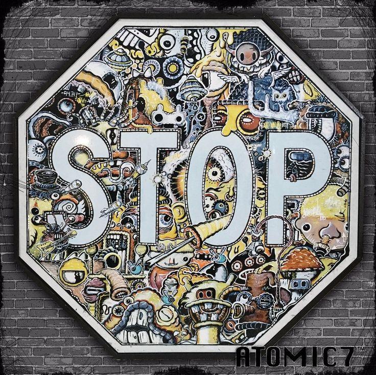 20x20 BERZERK, graffiti street tattoo art stop sign road traffic banksy suess #UrbanArt