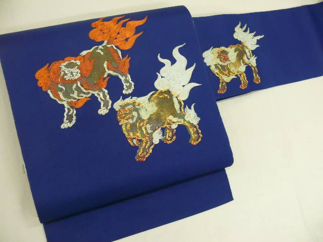 """Nagoya-obi"" with some Printed & Embroidered ""Kara-Shishi"" (Oriental Lion) Patterns some ""Kinkoma""(Gold Embroideries) & ""Ginkoma"" (Silver Embroideries)"