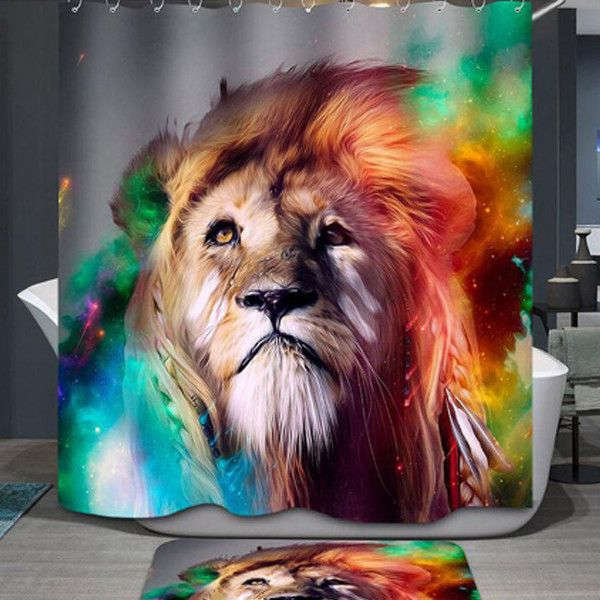 African Lion Shower Curtain and Floor Mat Set – PawzOutlet