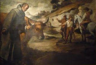 Murillo. Claustro de San Francisco el chico. 1645-46. San Francisco Solano y el toro. Murillo (1645). Reales Alcázares. Sevilla. Patrimonio Nacional