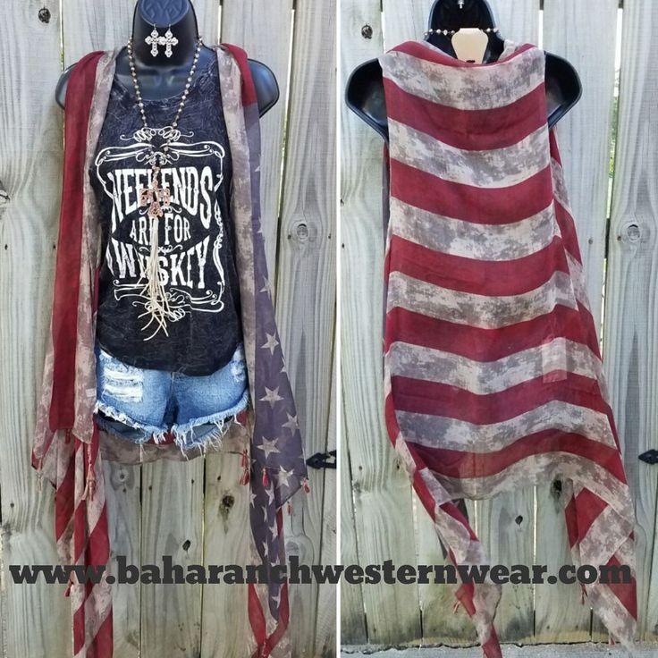 America Flag KIMONO DUSTER VEST  Cowgirl Boho Gypsy Festival Scarf  #Unbranded #vest
