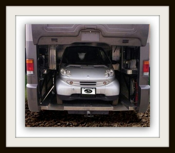 The mid engine design allowed for a rear car garage for Rv with car garage for sale