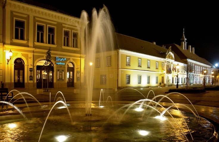 Vác, Hungary, Town hall, night lights