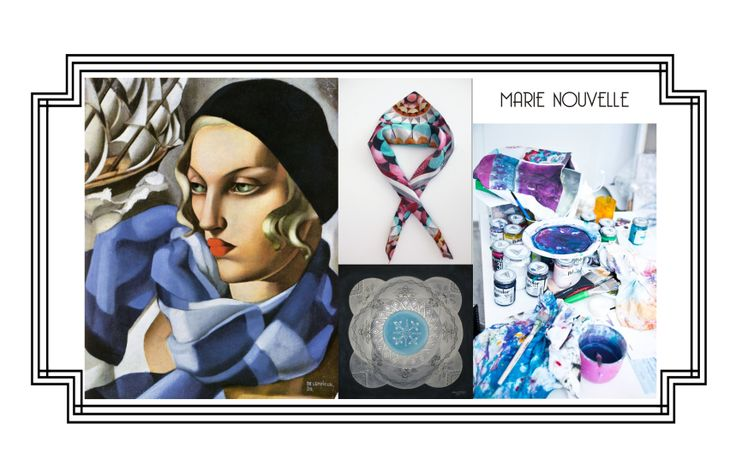 Marie Nouvelle painted silk scarves
