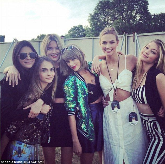 Fun time for everybody: Karlie Kloss got in on the act as she posted a group picture of her with Kendall, Taylor and the rest